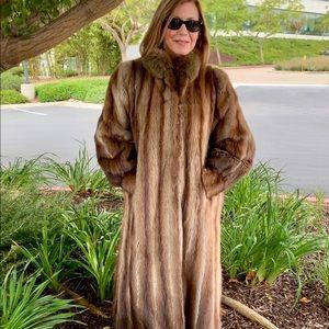 Headturning Muskrat & Fox Full Length Fur Coat M-L